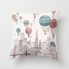 Voyages Over San Francisco Throw Pillow