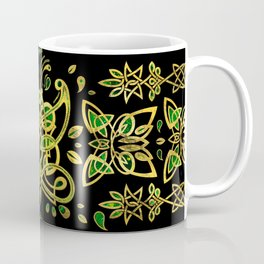 Celtic Butterfly Ornament - Green and gold Coffee Mug