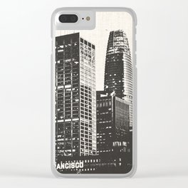 San Francisco Skyline Black and White Clear iPhone Case