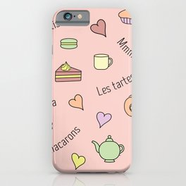 Sweet French themed tea and cakes afternoon tea themed vector design on a pink background iPhone Case