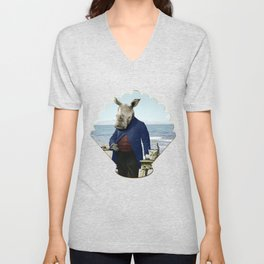 Mr. Rhino's Day at the Beach Unisex V-Neck