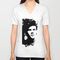 harry styles V-neck T-shirts featuring Harry Styles by Aki-anyway