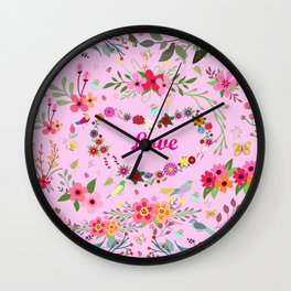 Say I love you with flowers Wall Clock