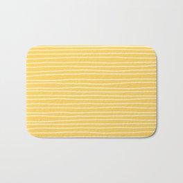 Sunshine Yellow Pinstripes Bath Mat