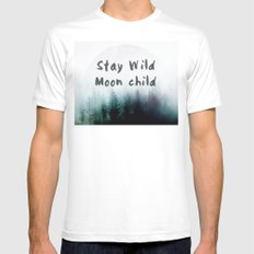 Stay wild moon child watercolor White SMALL Mens Fitted Tee