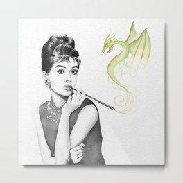 Audrey Hepburn Smoking and Dragon Metal Print