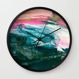 Meditate [4]: a vibrant, colorful abstract piece in bright green, teal, pink, orange, and white Wall Clock