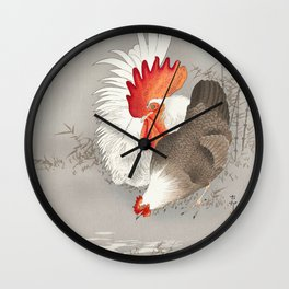 Rooster and hen in the field  - Vintage Japanese Woodblock Print Art Wall Clock