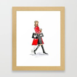 Walking Out of 5th Avenue Fashion Illustation by Elaine Biss Framed Art Print