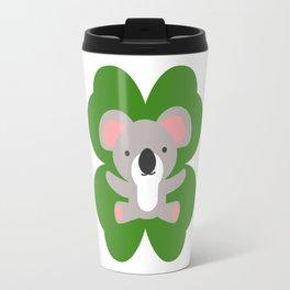 Koala On 4 Leaf Clover- St. Patricks Day Animal Travel Mug