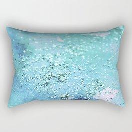 Blue Turquoise Glitter Watercolor Art Original Painting Rectangular Pillow
