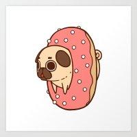 doughnut Art Prints featuring Puglie Doughnut by Puglie Pug