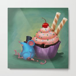 Mr. Bluemouse and a Cupcake Metal Print