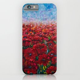 Poppy Field Palette Knife Painting By OLena Art iPhone Case