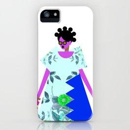 Bantu Knots and a Blue Dress iPhone Case