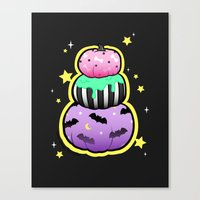 pastel goth Canvas Prints featuring Pastel Goth Pumpkin Stack by MagicCircle