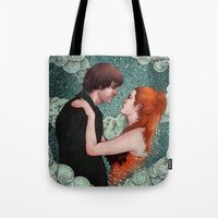 eternal sunshine of the spotless mind Tote Bags featuring Eternal Sunshine - Meet Me In Montauk by Angela Rizza