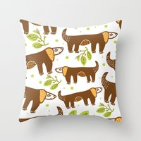 dogs Throw Pillows featuring Dogs by LOLIA-LOVA