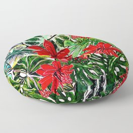 Exotic Passiflora Flowers Jungle Aloha Pattern Floor Pillow