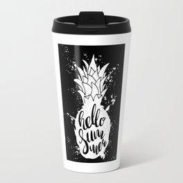 Pineapple silhouette lettering Hello summer black and white Travel Mug