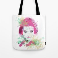 water colour Tote Bags featuring water colour lady by rebeccalbe