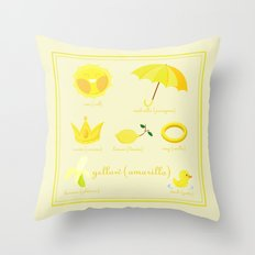 Colors: yellow (Los colores: amarillo) Throw Pillow