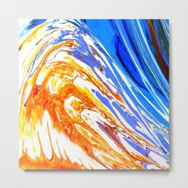 Riding the Wave of Orange Emotion; Fluid Abstract 53 Metal Print