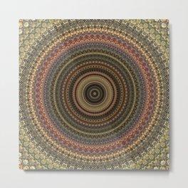 Vintage Bohemian Mandala Textured Design Metal Print