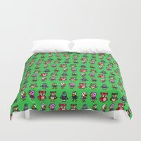 animal crossing Duvet Covers featuring Animal Crossing Design 4 by Caleb Cowan
