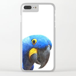 Blue Parrot Portrait Clear iPhone Case