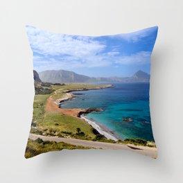 Sicilian Sound of Macari Beach Throw Pillow