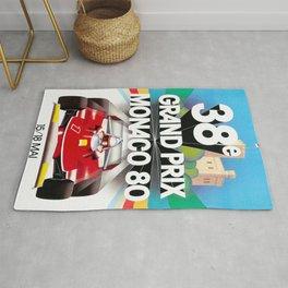 Monaco Gran Prix 38e 1980 Vintage Poster, Artwork for Wall Art, Prints, Poster, Tshirts, Men, Women, Kids Rug