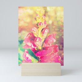 Lupinus-Pink Yellow Blue-Bokeh Hearts Mini Art Print