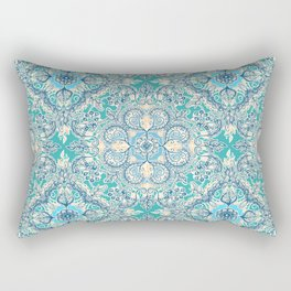 Gypsy Floral in Teal & Blue Rectangular Pillow