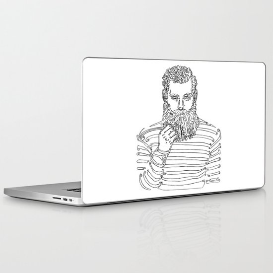 Beard man with a pipe laptop ipad skin by ladyberula society6
