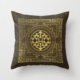 Gold Sri Yantra  / Sri Chakra Throw Pillow