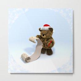 Santa Teddy's List Metal Print