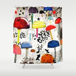 Mein Ein, mein Alles - Mushrooms Abstract Botanical Art - cute animal print - Leopard Muster Shower Curtain