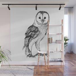 Barn Owl - Drawing In Black Pen Wall Mural