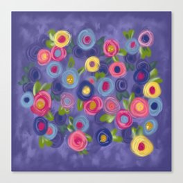 Rose Garden painting roses leaves purple pink blue yellow green Canvas Print