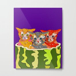 Cats in Watermelon Jacuzzi - Tropical Metal Print