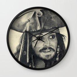 Captain Jack Sparrow ~ Johnny Depp Traditional Portrait Print Wall Clock