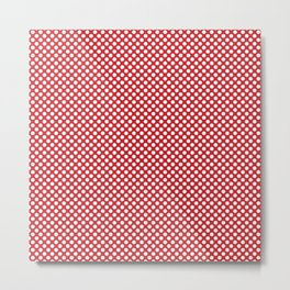 Flame Scarlet and White Polka Dots Metal Print