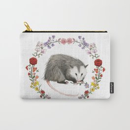Opossum in Floral Wreath Carry-All Pouch