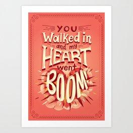 Heart went boom Art Print