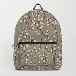 Pussywillow Pattern — Taupe Backpack