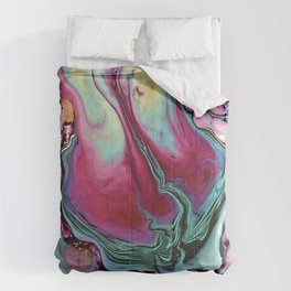 Colorful abstract marble Comforters