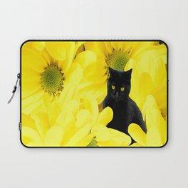 Black Cat Yellow Flowers Spring Mood #decor #society6 #buyart Laptop Sleeve