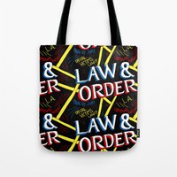 law Tote Bags featuring LAW & ORDER by Josh LaFayette