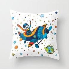 Boy on a plane Throw Pillow